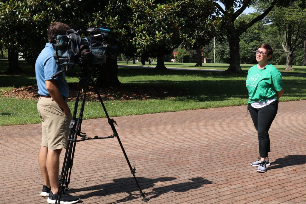 media conversation with a camera man at EMF