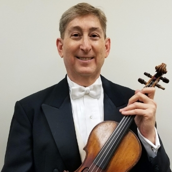 Randall Weiss white male in tuxedo holding violin in left hand