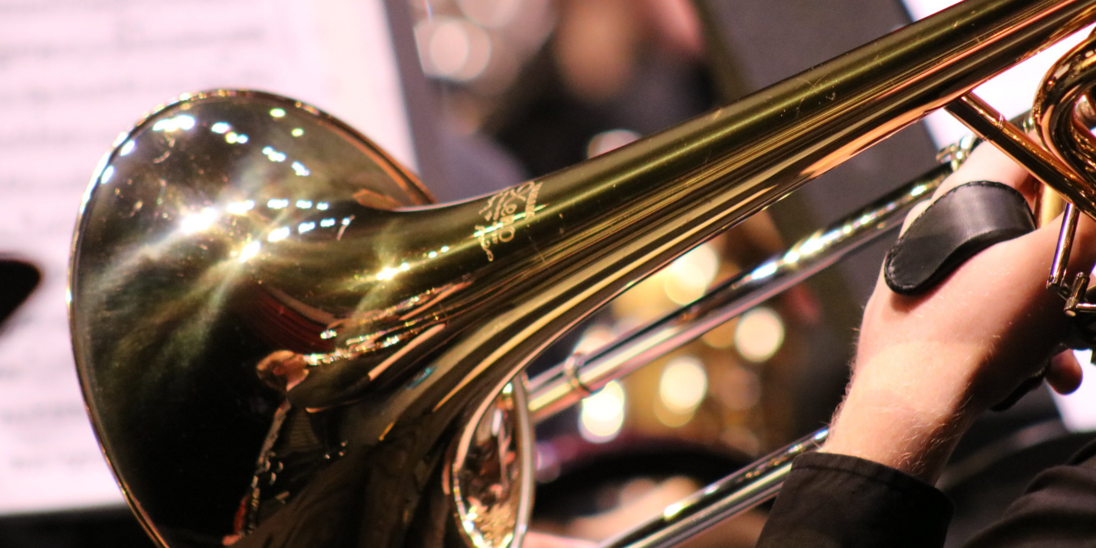 side view of trombone brass instrument bell