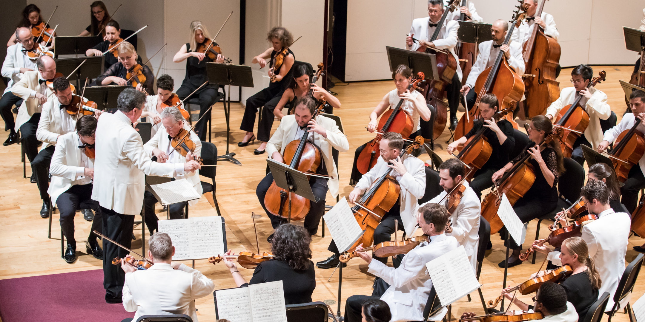 conductor and orchestra string players