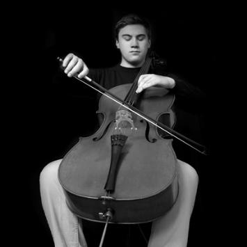 black white photo of young white man playing a cello