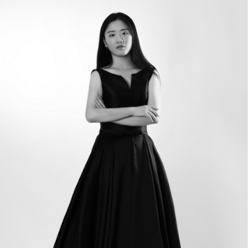 young asian female in black ball gown