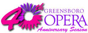 Purple and hot pink logo for greensboro opera sunburst
