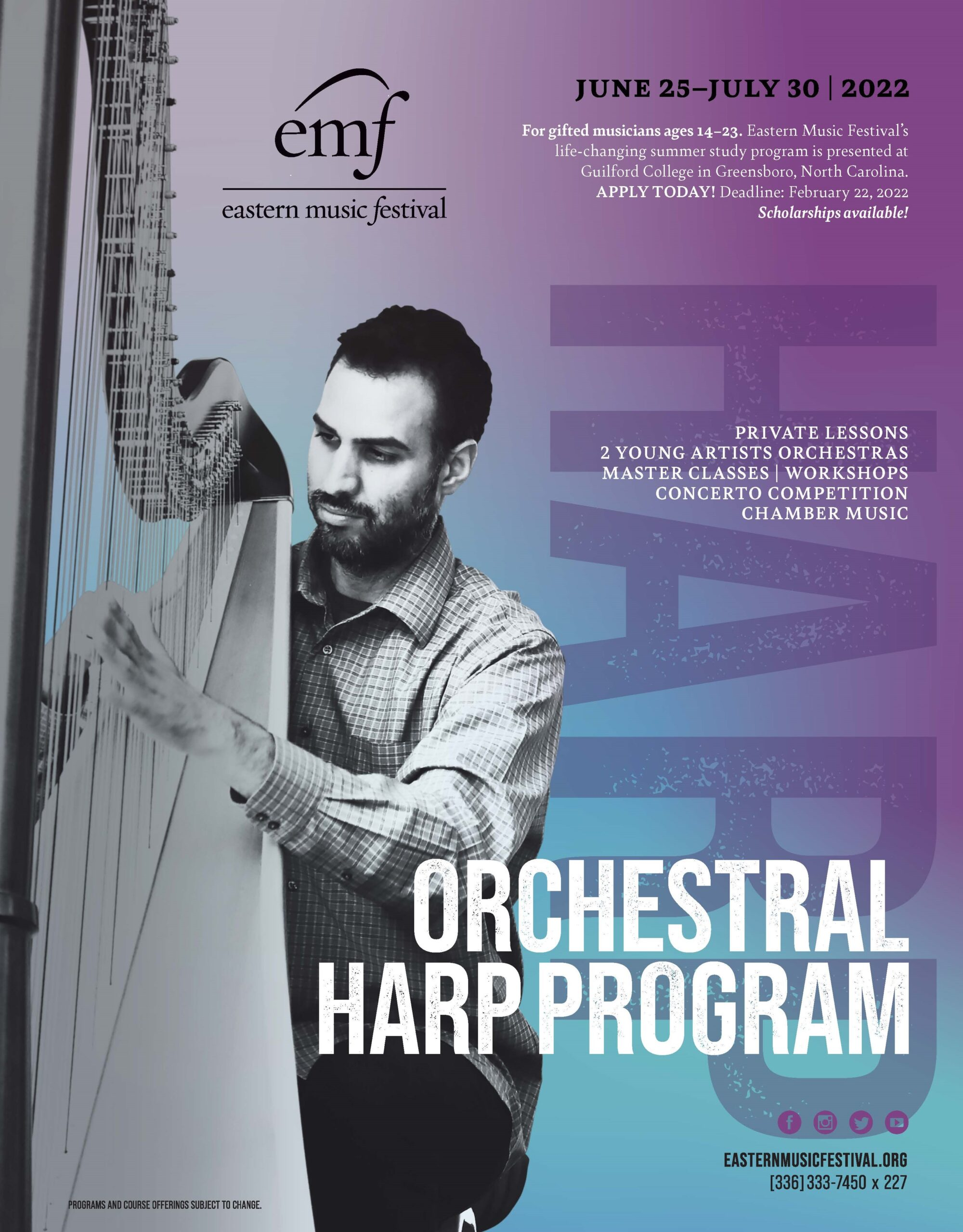 man with beard playing a harp with purple blue backgrouns