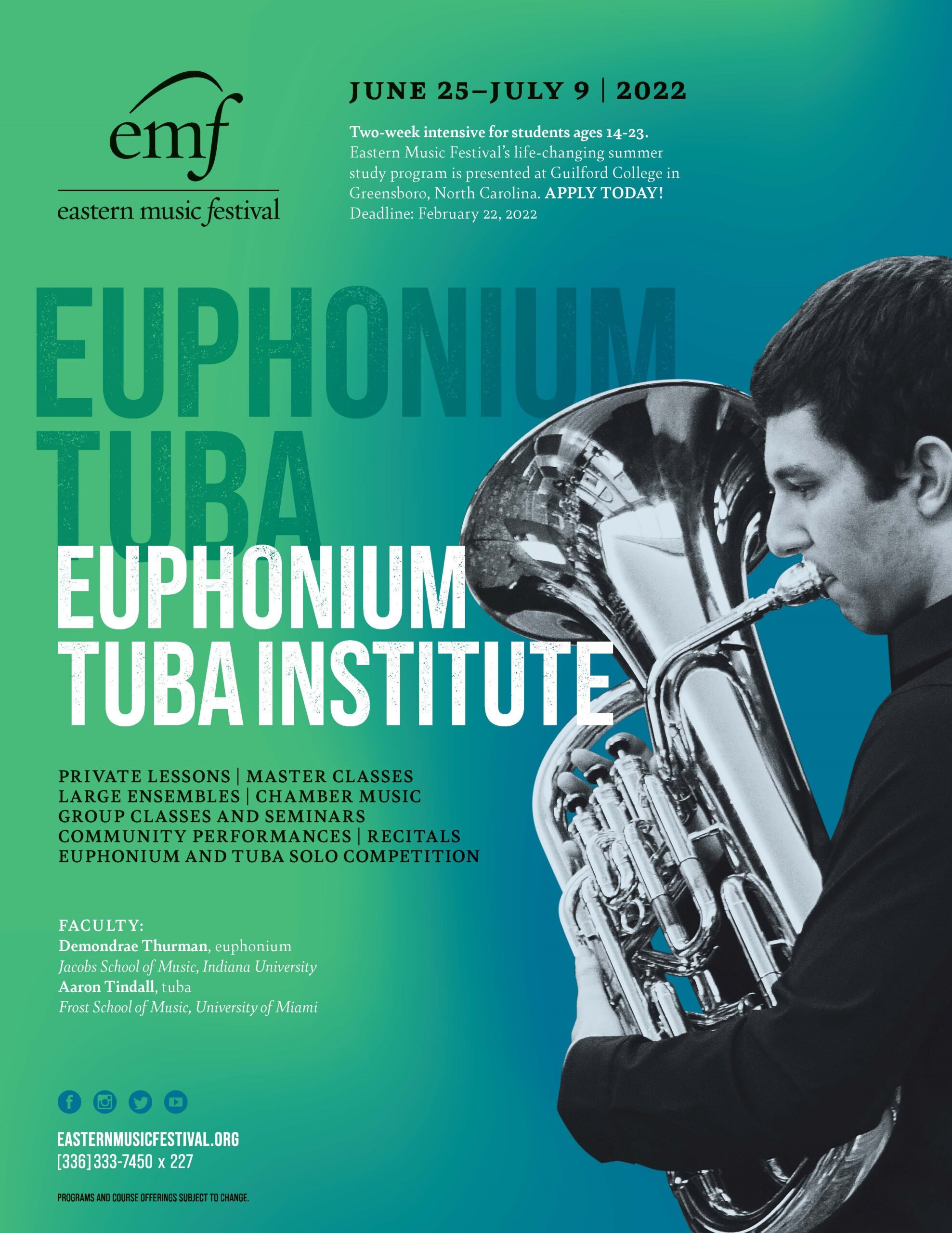 white male playing a euphonium on teal background